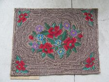 """Antique Red Rose & Other Flowers Handmade Hooked Rug (37 1/2"""")"""