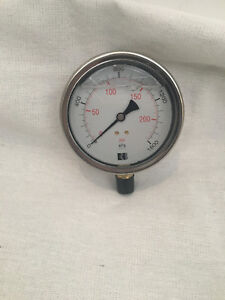 "Pressure Gauge 0-1600kpa 1/4""/8mm - 3/8""/10mm BSP Liquid Filled Air Compressor"