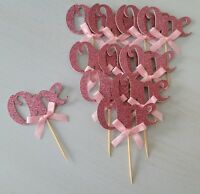 """1ST BIRTHDAY """"ONE"""" CUPCAKE TOPPERS WITH BOWS BOY GIRL FIRST BIRTHDAY PARTY"""