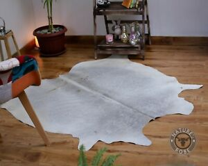 Cowhide Gray rug 5x5 ft Cow hide skin Hair on Grey white Leather area rug floor