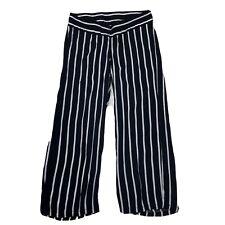 H&m Mama Maternity Stripe Under Bump Wide Leg Casual Trousers Pants Size 14