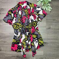 TRINA TURK Silk Floral Print Tie Neck Blouse Shirt Size 6