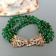 6 Rows Faceted Coin Shape Green Agate Bracelet Cubic Zirconia Pave Clasp