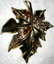 gold tone leaf brooch pretty fall/autumn brown/clear rhinestone