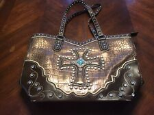 Blazin Roxx Western Cross Handbag Purse Beaded Brown Turquoise Silver Copper