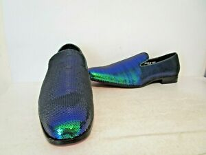 After Midnight Mens 6865 Formal Slip On Sequin Dress Shoes Peacock Pearl Size 13