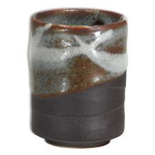"""Japanese Yunomi Sushi Tea Cup 3.25"""" H Porcelain Brown Shinsetsu, Made in Japan"""