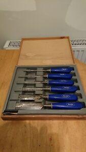 Vintage Set of Six Marples Blue Chip Chisel Set With Storage Box