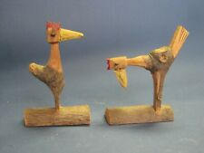 Vintage Folk Art Wood Carved Pair of Rooster Chicken Birds