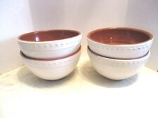4 Bobby Flay Beige Terra Cotta Embossed Dots Edge Soup/Cereal Bowls - Portugal