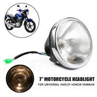 "7"" Motorcycle Round Headlight Halogen H4 Bulb Head Lamp For Harley Honda Yamaha"