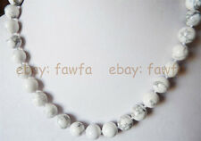 """gems round beads Necklace 18"""" Aaa Charming 10mm white turquoise"""