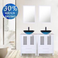 "48"" Modern Bathroom Vanity W/Mirror Vessel Glass Single Sink Faucet Drain Set"