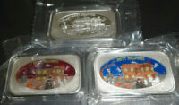 Set Of 3 Halloween Haunted House .999 Fine Silver Enameled Art Bars CMG Mint