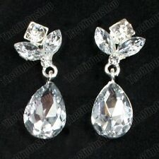 4cm big CLIP ON glass CRYSTAL EARRINGS silver rhinestone TEARDROP sparkly drops