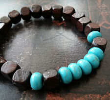 Turquoise Walnut Wood Stretch Bracelet Purification Protection Heal Unisex  8""