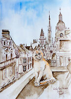 Cat On The Roof Of Old Town watercolor original painting kitten pet kitty city