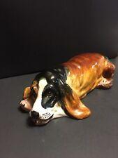 Vintage Basset Hound Dog Ceramic Figurine StatueHand Made In Italy