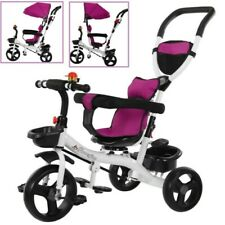 Baby Kids Toddler Tricycle Steel Stroller with Push Handle Foldable Pedal Bike