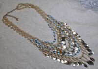 MULTI STRAND BLUE & PEACH LUCITE BEADED GOLD TONE LEAF DROP STATEMENT NECKLACE