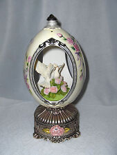 Vintage Mid 1900's Porcelain Egg Music Box Birds On Roses Silver Base Nice