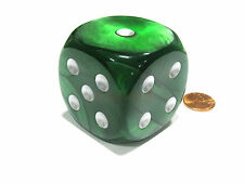 Velvet 50mm Huge Large D6 Chessex Dice, 1 Piece - Green with Silver Pips