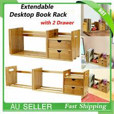 Bamboo Adjustable Desk Bookshelf Book Case Table Organizer Storage Shelf Rack AU