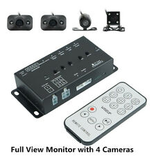 4 Camera Image Combiner Split Full View Parking Monitor Video Recorder w/ Switch