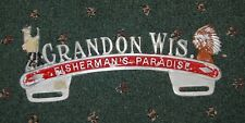 Vintage Metal Auto License Plate Decoration Crandon WIs. Fisherman's Paradise