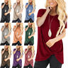 Womens Loose Fit Short Sleeve T-Shirt O Neck Casual Basic Knot Top Long Blouse