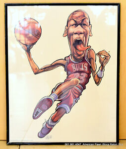 Michael Jordan Chicago Bulls Caricature Print  Signed By TED CROW 1989 20 x 16