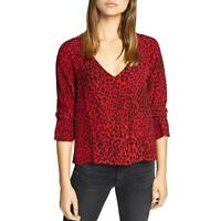 Sanctuary Top Blouse Farrah Printed Hi Low Button Down Black Red Sz XL NEW