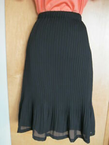 Sunny Leigh NEW Pleated designer fashion women skirt solid black pull on size S