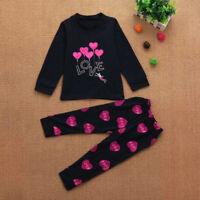 2PCS Fashion Baby Kids Girls Outfits Long Sleeve Tops T-shirt Pants Clothes Set