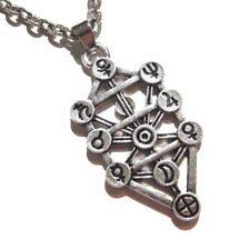 SILVER SEPHIROTH PENDANT NECKLACE Kabbalah Occult Magick Tree Enoch Charm 6Z