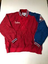 Vtg Philadelphia Phillies Starter Half Snap Pullover Jacket Mens size Large
