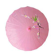 "Vintage Oriental Folding Pink Wedding Party Nylon Bamboo Umbrella Parasol 15"""