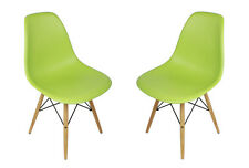 Set of 2 Eames Style DSW Molded Green Plastic Shell Chair with Wood Eiffel