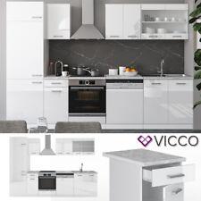 Küche Küchenblock Einbauküche ? Weiß R-Line 300 cm Hochglanz Vicco