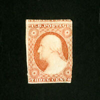 US Stamps # 11 3 margins part OG H Scott Value $275.00