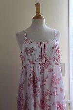 NWT Laura Ashley White Red Toile Print Summer Sun Slip Ruffle Hem Dress Sz M