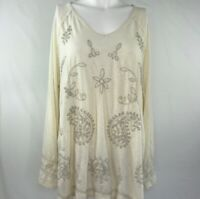 Style & Co Womens Size Large Knit Top Ivory with Taupe Paisley Embroidery V-Neck