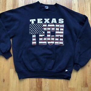 Men's Vintage 90's Texas Tech Red Raiders Navy Blue Crewneck Sweatshirt Sz 2XL
