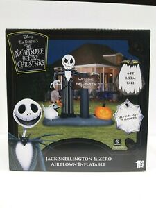 Nightmare Before Christmas Halloween Town Jack Skellington & Zero inflatable