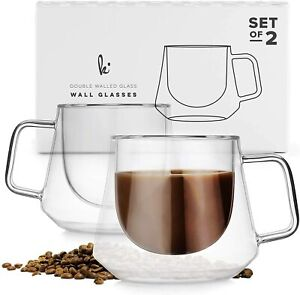 Double Wall Glass Coffee Cups 2 Pack, Diamond Shape with Handle, Set of 2, 6.7oz