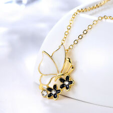 18K Yellow Gold Filled White Butterfly Flower Pendant Wedding Necklace