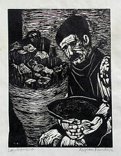 Byron Randall Signed Expressionist Woodcut