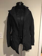 United Colors of Benetton Black Jacket Coat Sz 40 Outerwear with Belt