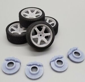 """1/24 Scale 20""""x10"""" 3D Printed Volk TE37 Wheels with Tires and Disc Brakes"""