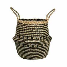 Foldable Woven Basket Decorative Garden Flower Pot Rattan Home Organization